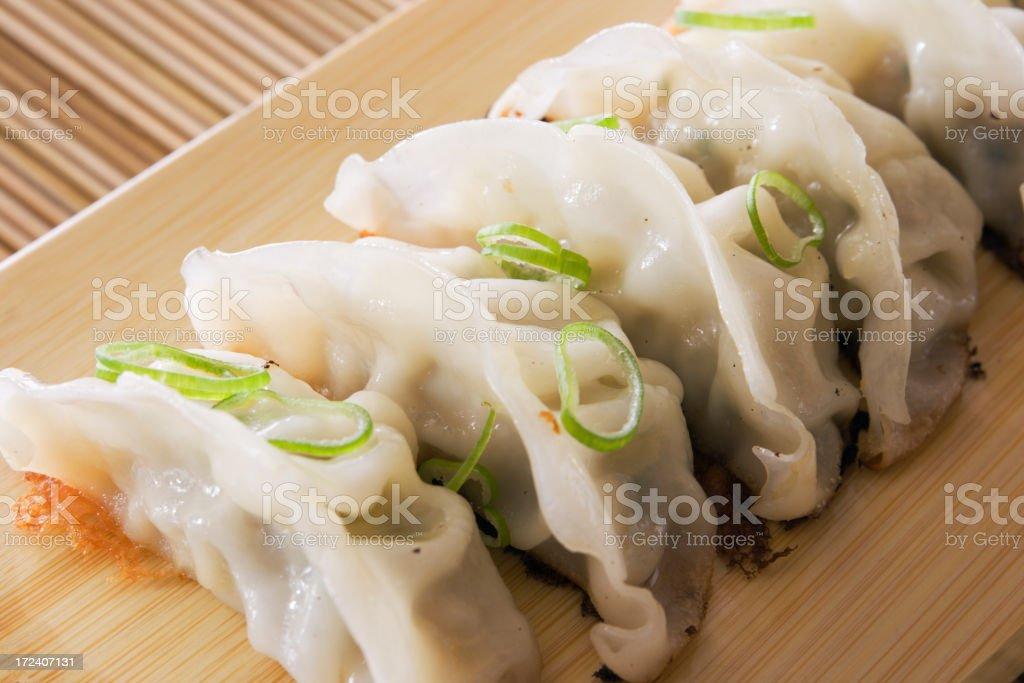 Chinese, Japanese Asian Dumpling Potstickers, Gyoza Dim Sum stock photo