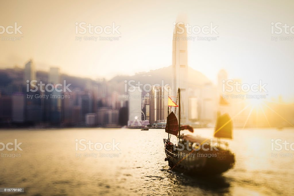 Chinese Junk ship operating in Victoria Harbour, Hong Kong stock photo
