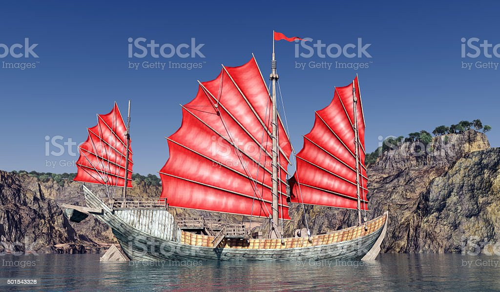 Chinese junk ship stock photo