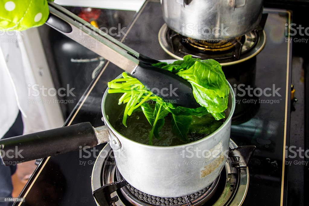 Chinese kale boiled stock photo