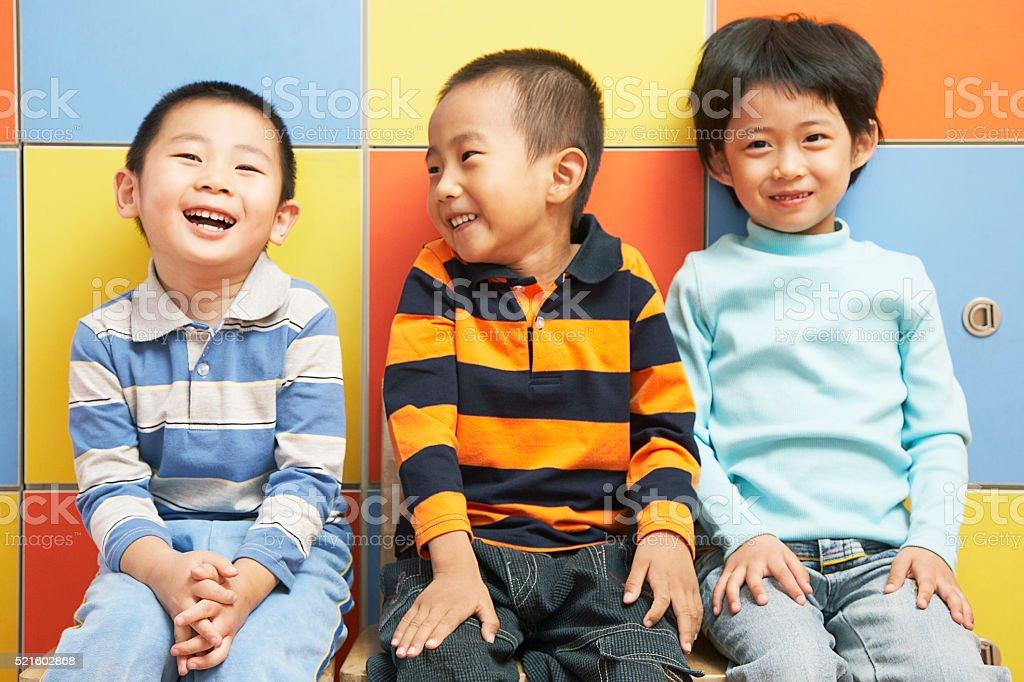 Chinese kindergarten student at school stock photo