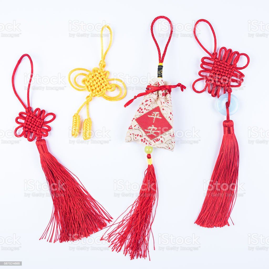 Chinese knots and lucky bag stock photo