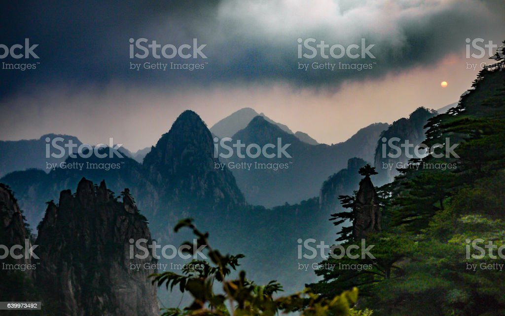 Chinese landscape during sunrise in Huangshan, Yellow Mountains stock photo