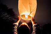 Chinese Lantern Being Released