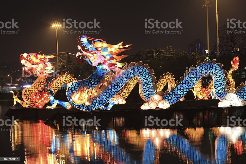 Chinese lantern dragon stock photo