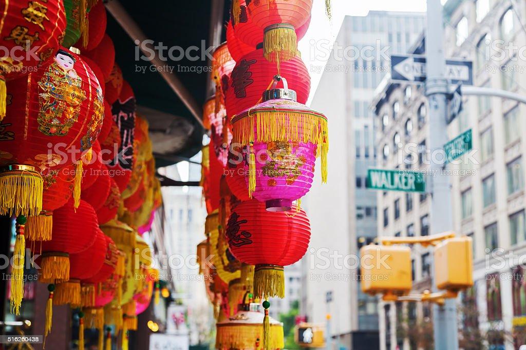 Chinese lantern in Chinatown, Manhattan, NYC stock photo