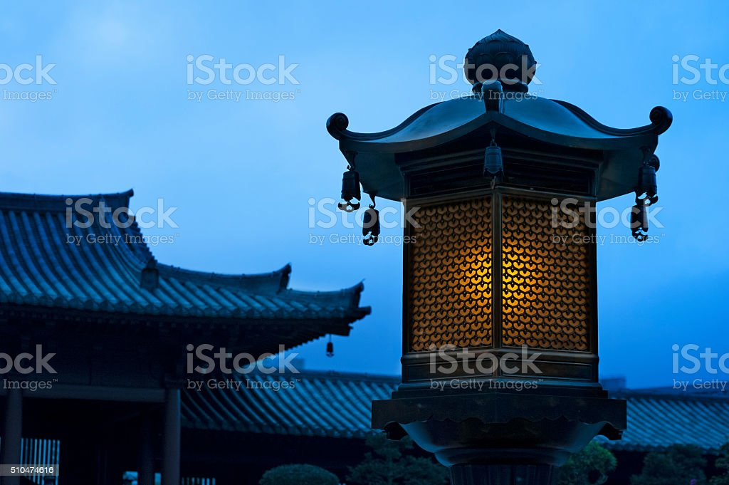 Chinese lantern in Chinese temple stock photo