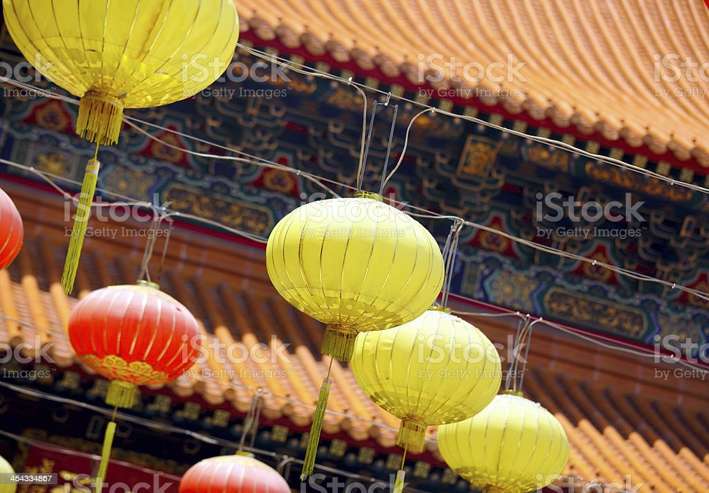 Chinese lantern in front of temple royalty-free stock photo
