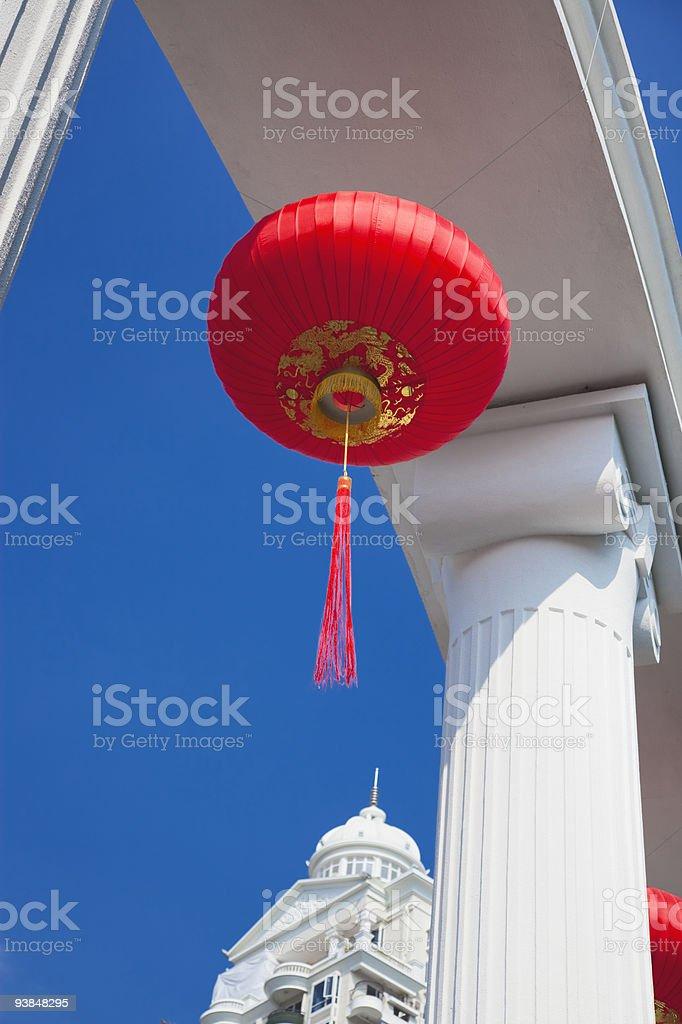 Chinese Lanterns and Column royalty-free stock photo