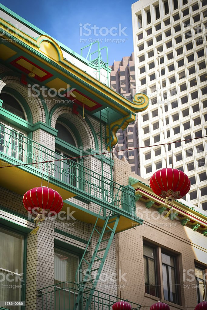 Chinese lanterns and downtown high-rise buildings royalty-free stock photo