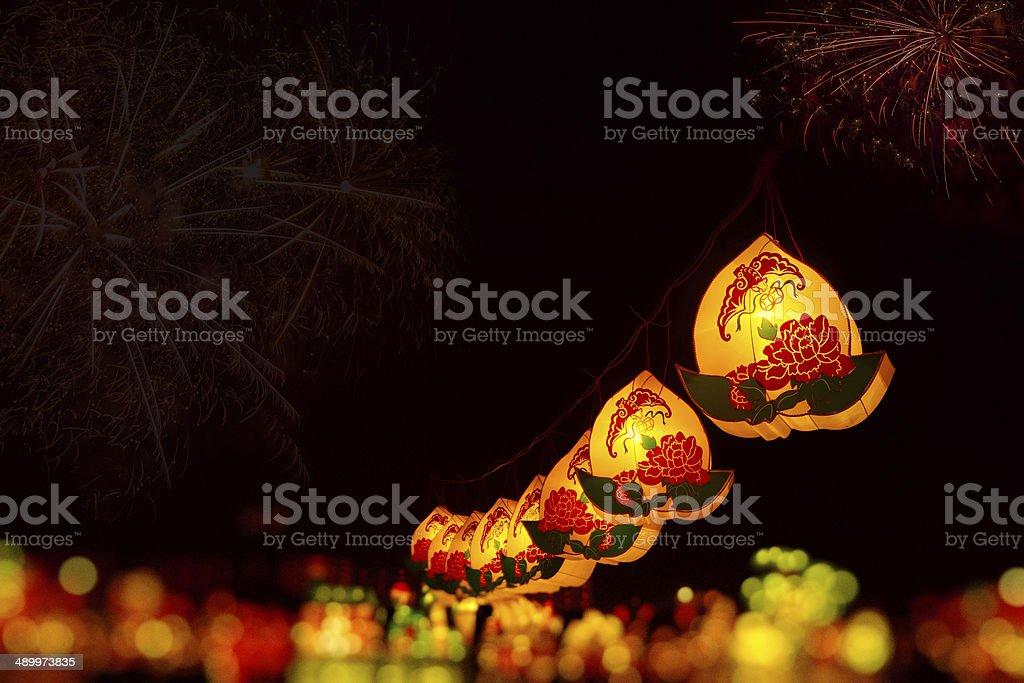 Chinese lanterns at fireworks stock photo
