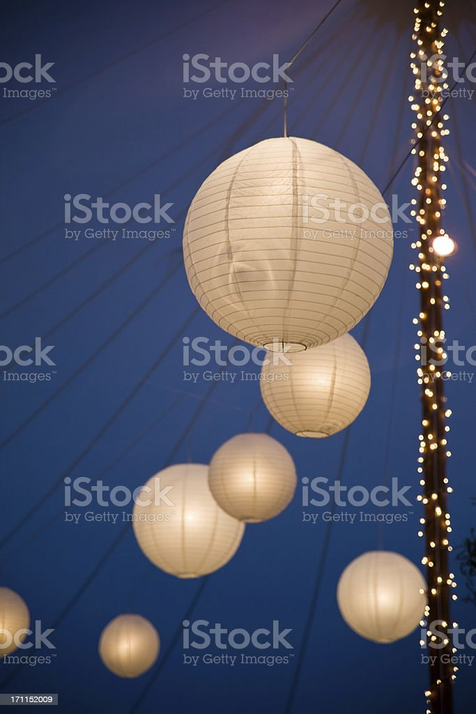 Chinese lanterns at night in the tent royalty-free stock photo