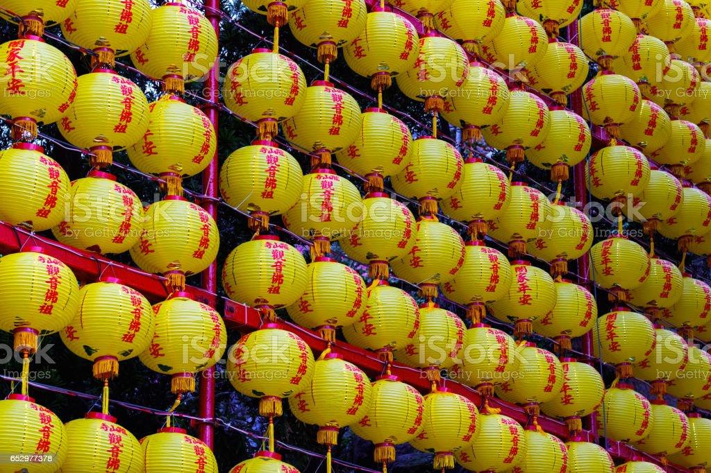 Chinese lanterns displayed at Lungshan Temple stock photo