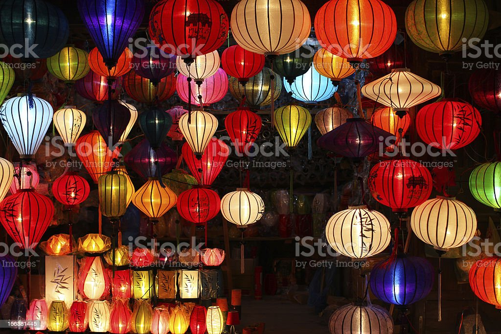 Chinese lanterns with lights as new year decorations stock photo