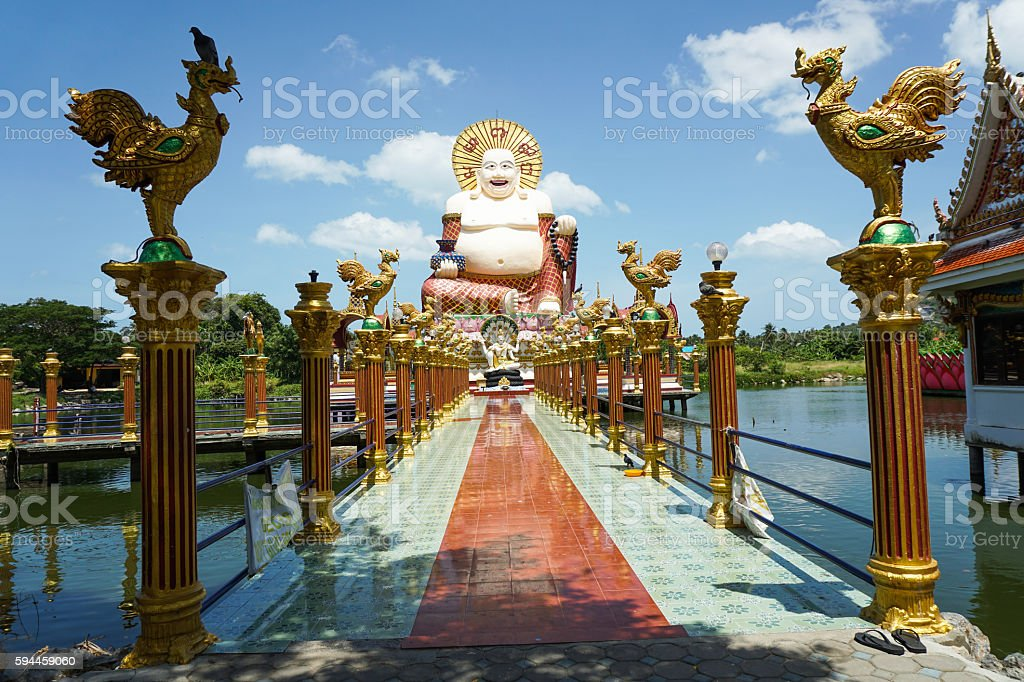 Chinese laughing buddha at Plai Laem temple stock photo