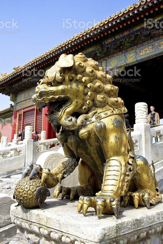Chinese lion at the gate stock photo