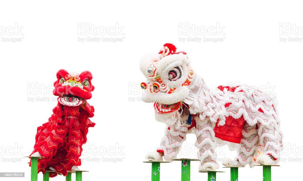 Chinese lion costume dance stock photo