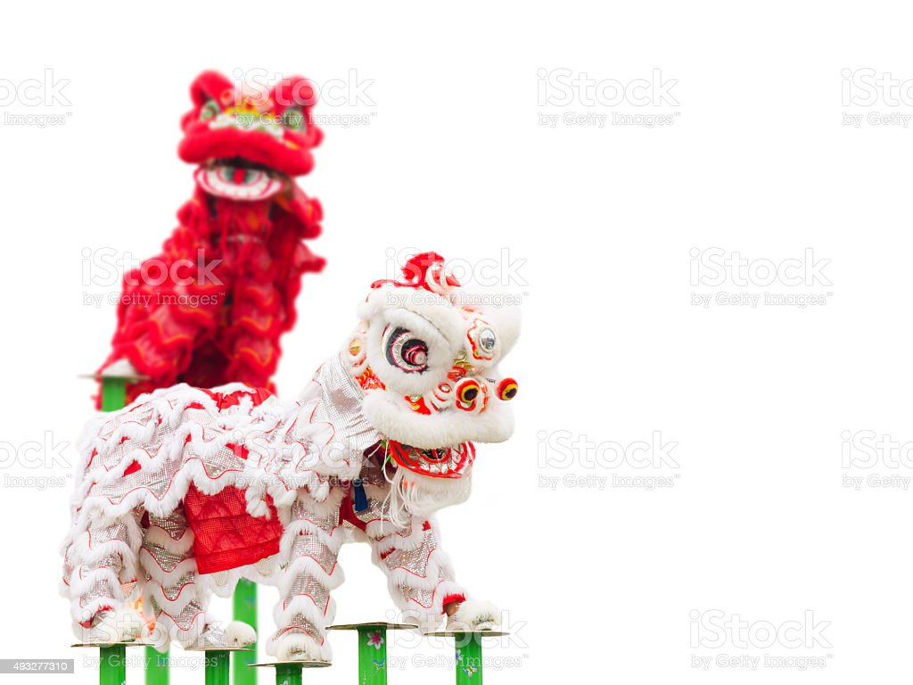 Chinese lion costume dance stock photo