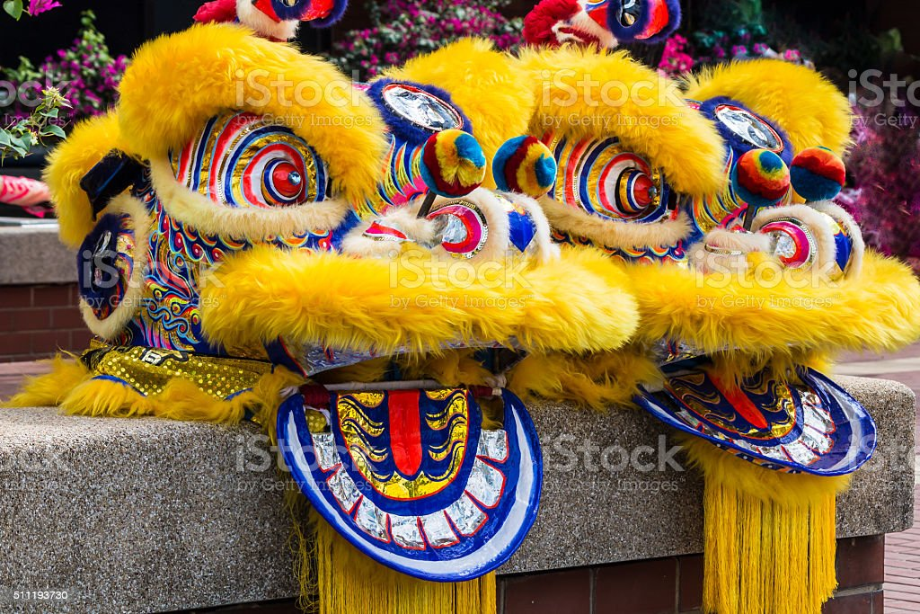 Chinese Lion Dance Costume. stock photo