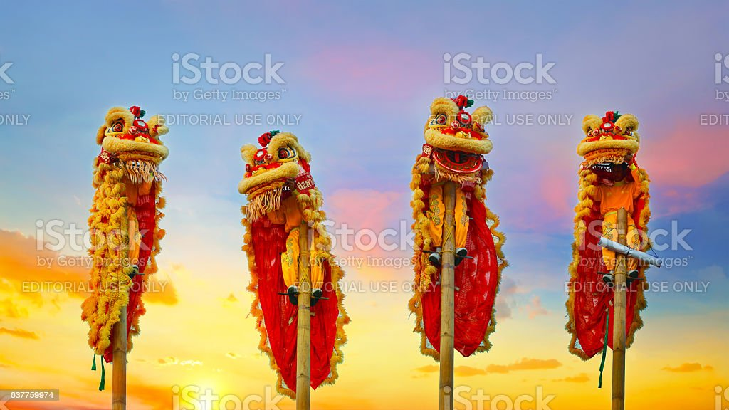 Chinese Lion Dance in Chinese New Year's Celebration stock photo