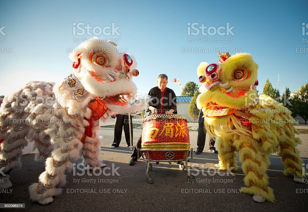 Chinese Lion Dancers stock photo