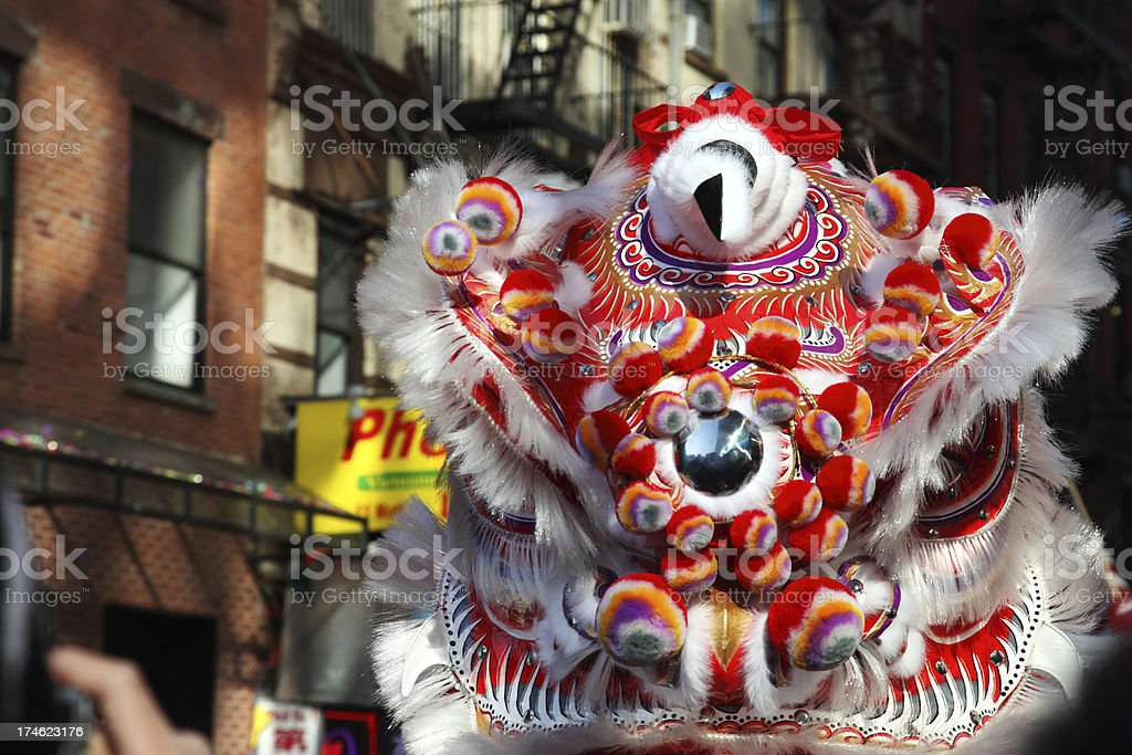 Chinese Lion Dancing On Street stock photo