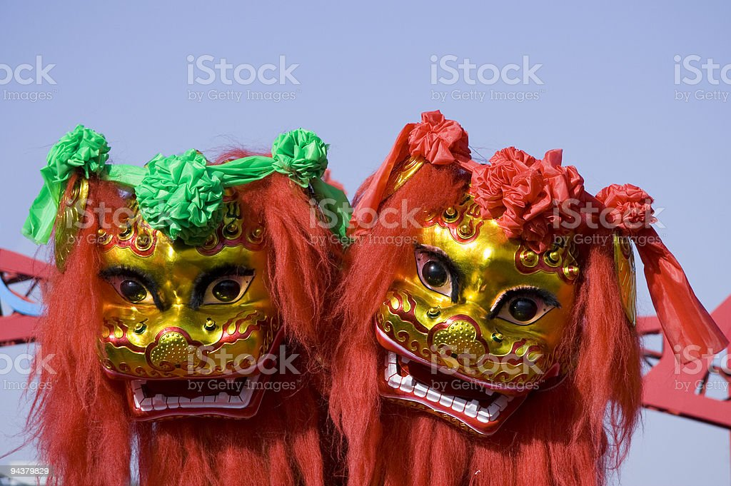 Chinese lion dancing royalty-free stock photo