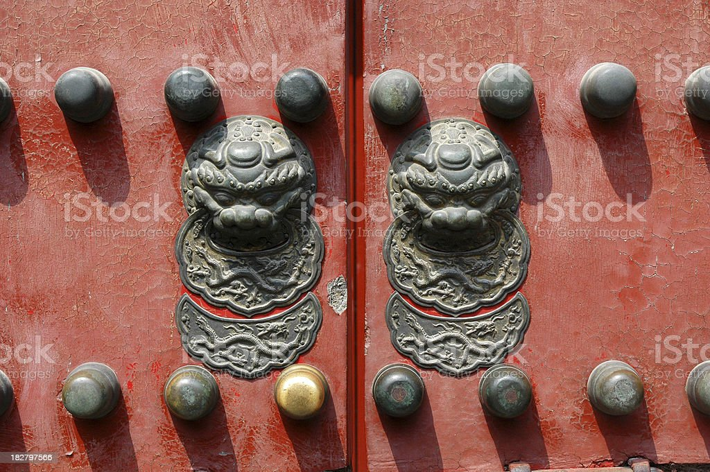 Chinese Lion door knob, Forbidden City, Beijing stock photo