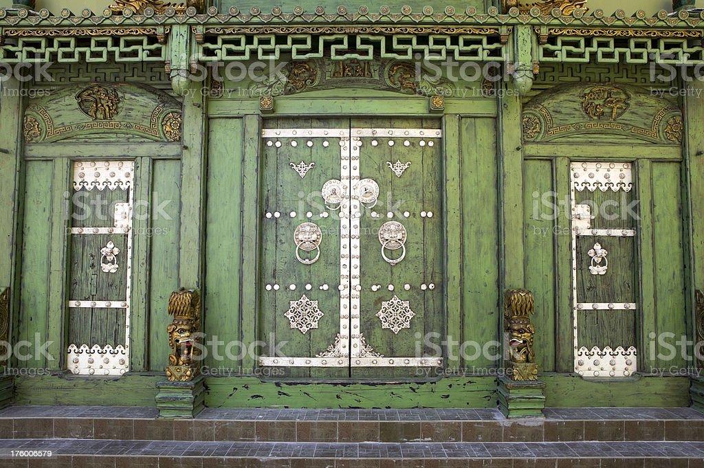 chinese lion door knocker ornate entrance georgetown penang malaysia green royalty-free stock photo
