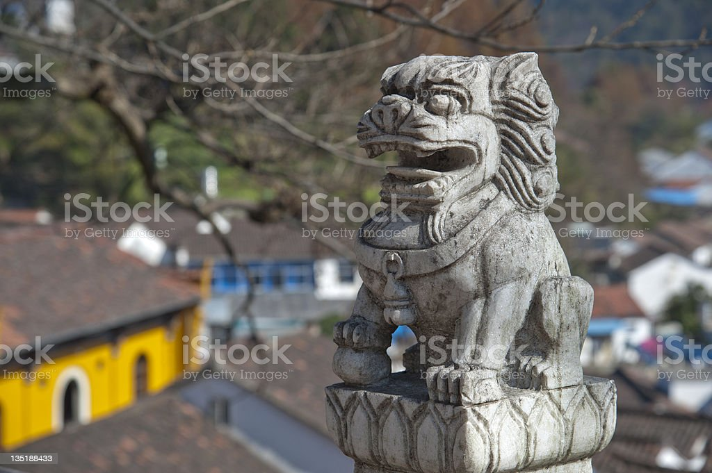 Chinese lion in front of the temple stock photo