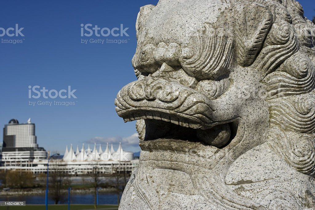 Chinese Lion statue in front of Canada Place,Vancouver stock photo