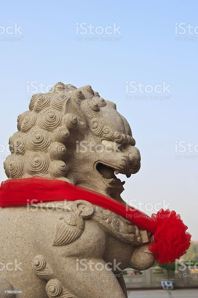 Chinese lion statue in temple royalty-free stock photo