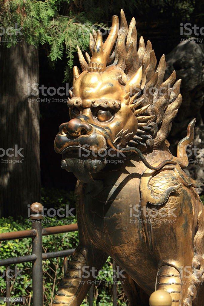 Chinesische Löwenstatue stock photo