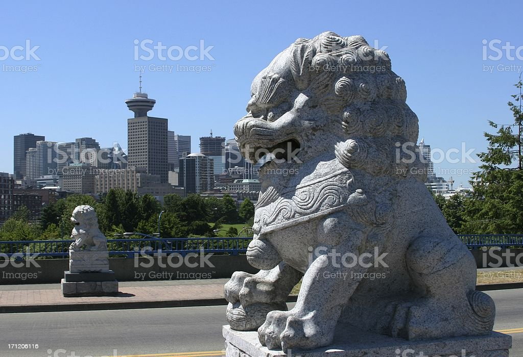 Chinese Lions In Vancouver 2 royalty-free stock photo