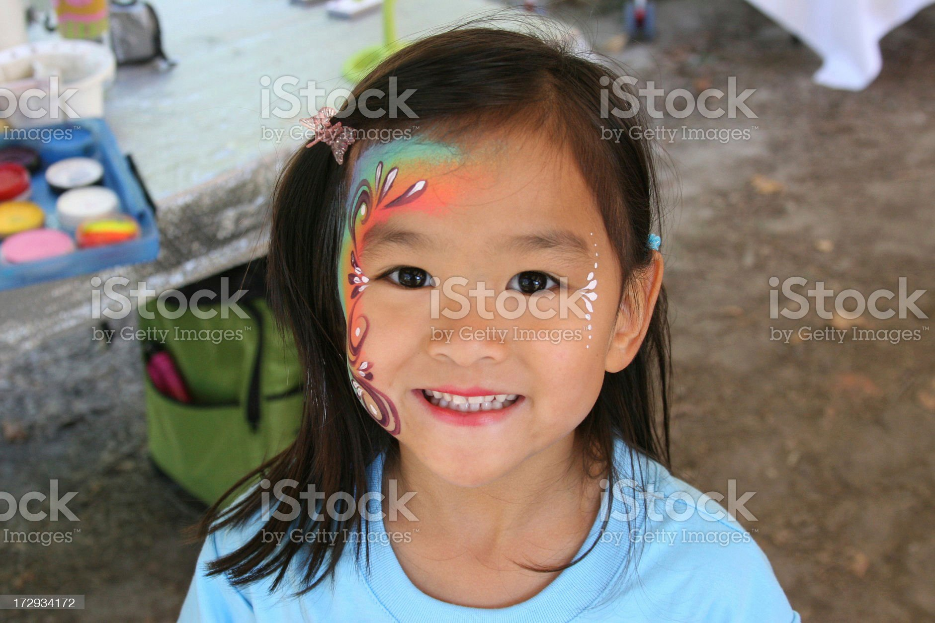 Chinese little girl with face painted royalty-free stock photo