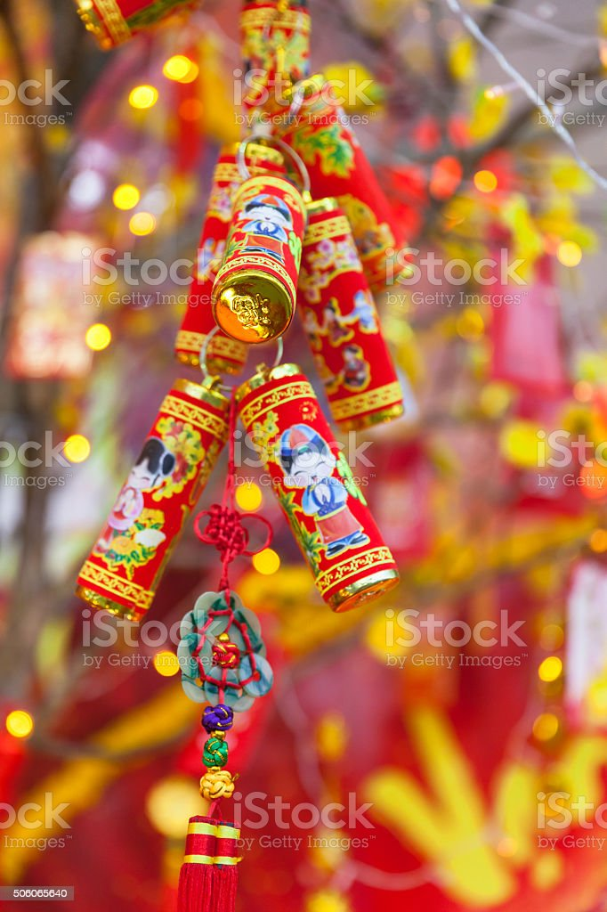 Chinese Lunar New Year or Tet decorations stock photo