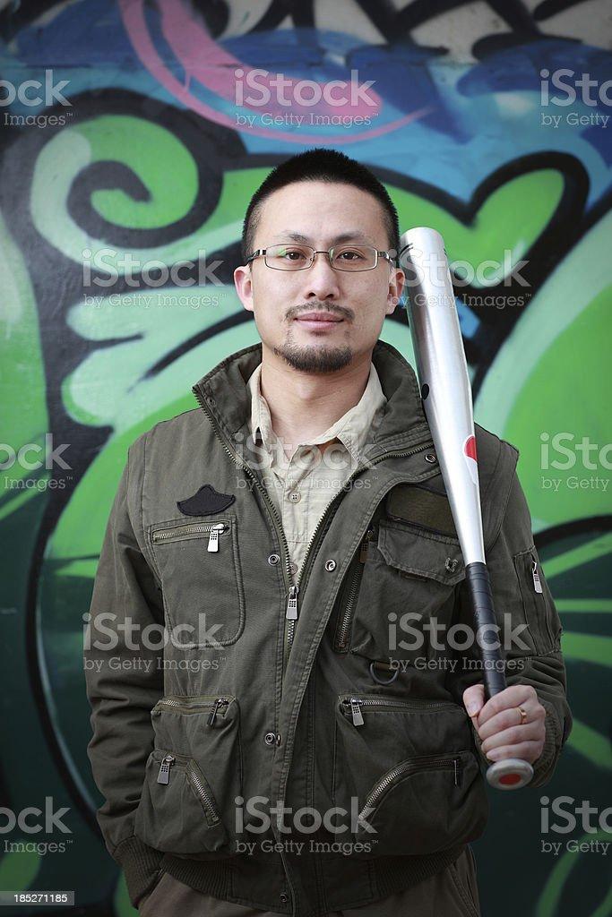 Chinese male youth Painting graffiti royalty-free stock photo