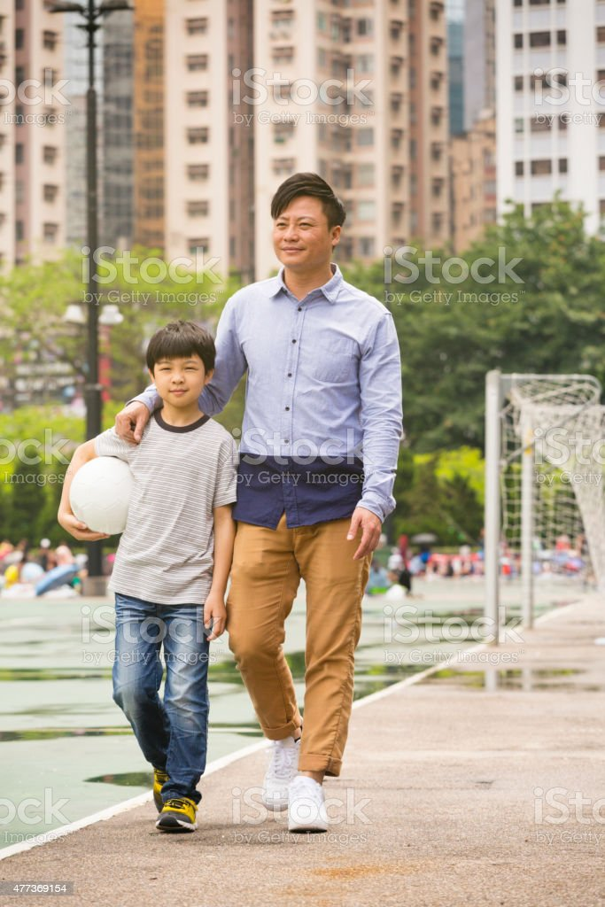 Chinese Man and Boy stock photo