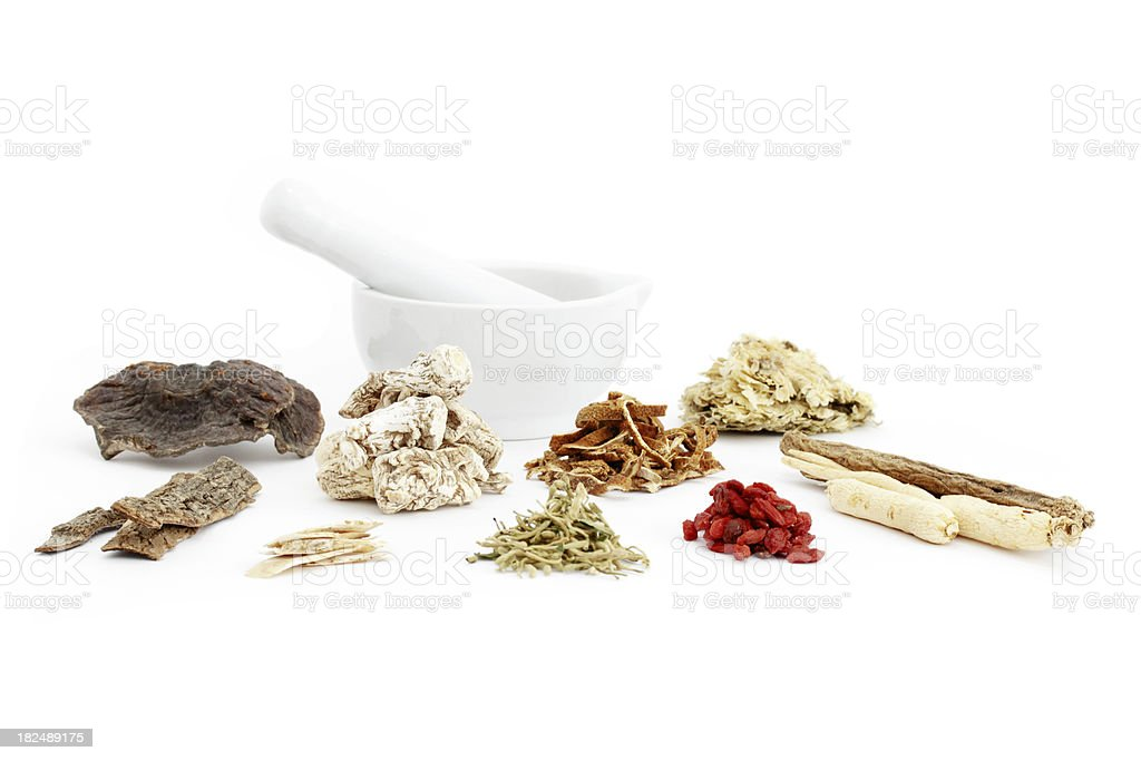 Chinese medical herbs and mortar royalty-free stock photo