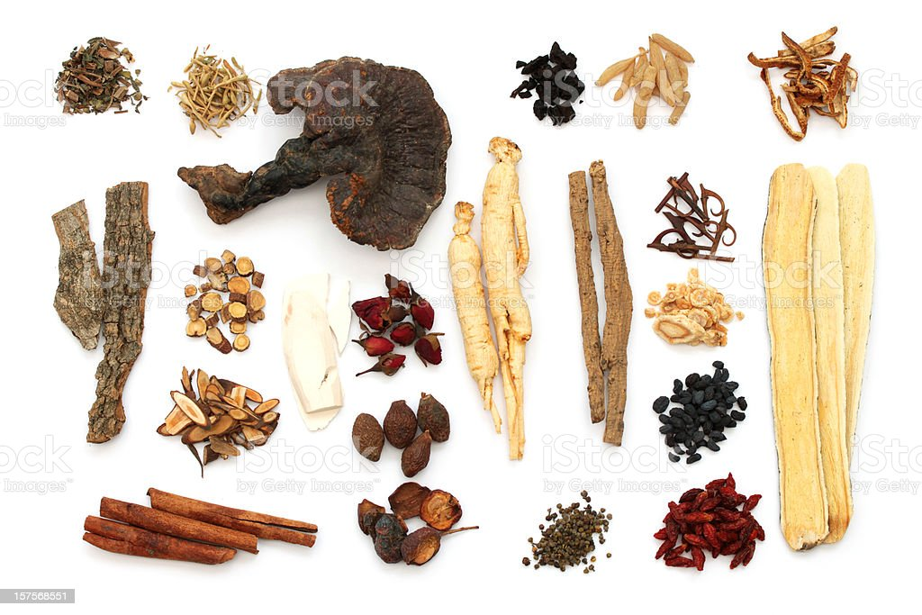 Chinese medical herbs on white stock photo