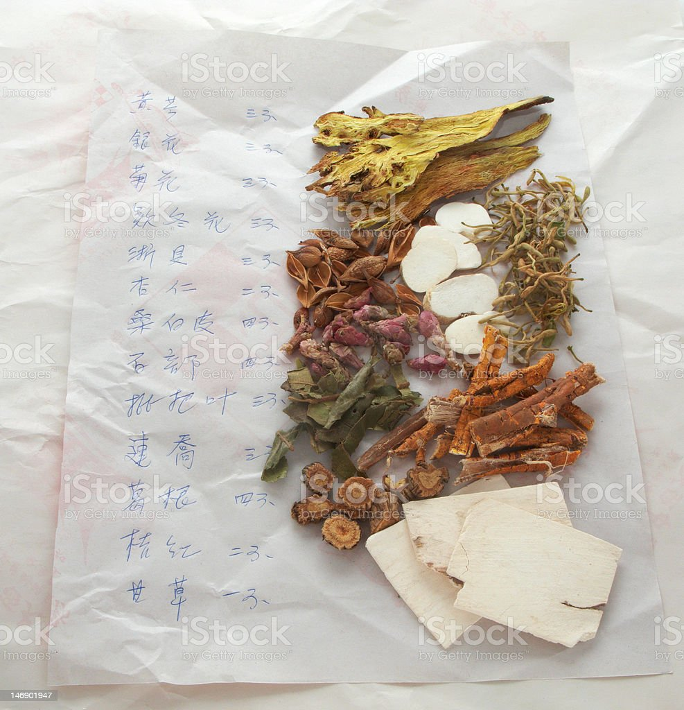 Chinese medicine with handwritten prescription note royalty-free stock photo