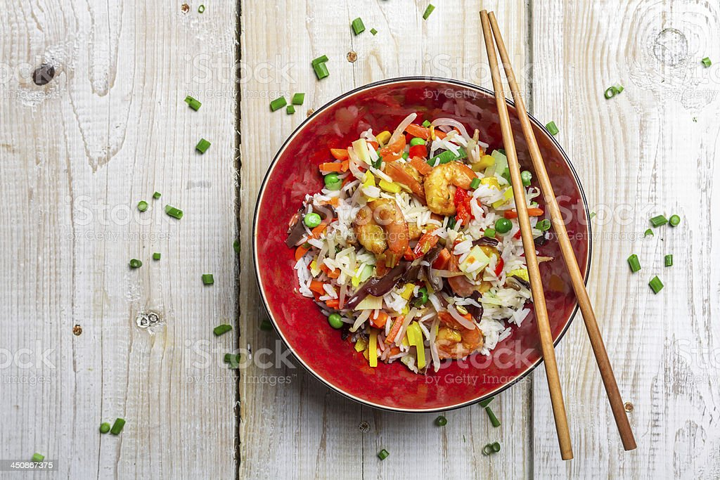 Chinese mix vegetables and rice stock photo
