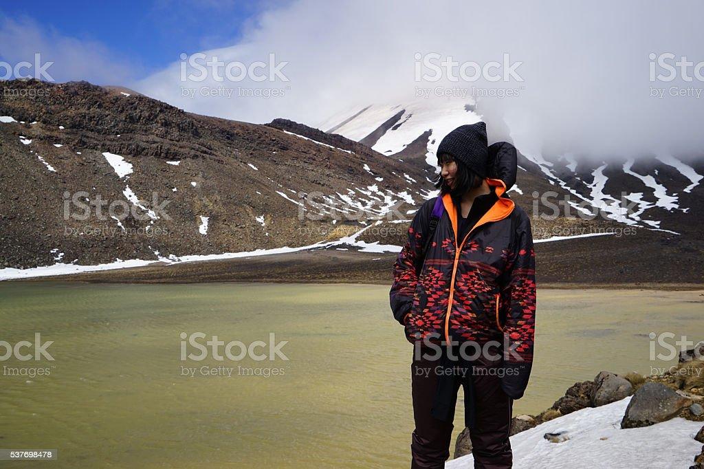 Chinese model enjoying the serenity at Tongariro, NZ stock photo