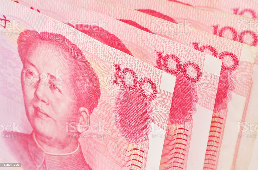 Chinese money close up stock photo