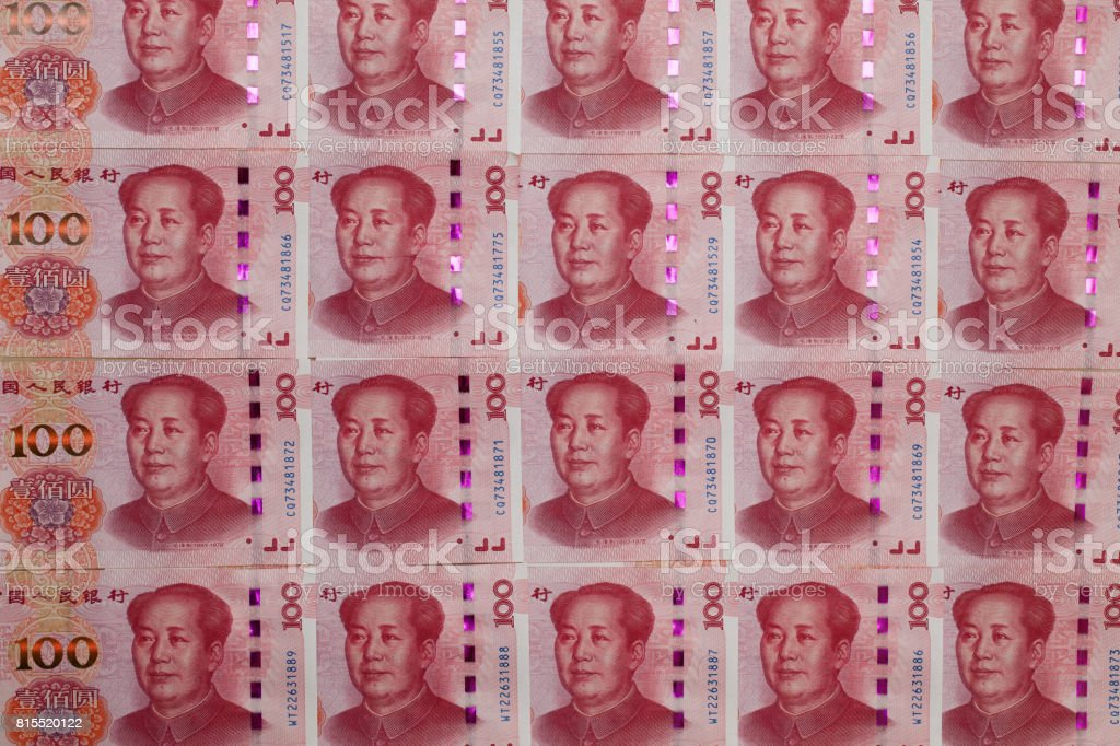 Chinese money - One hundred Chinese yuan paper banknotes; stock photo