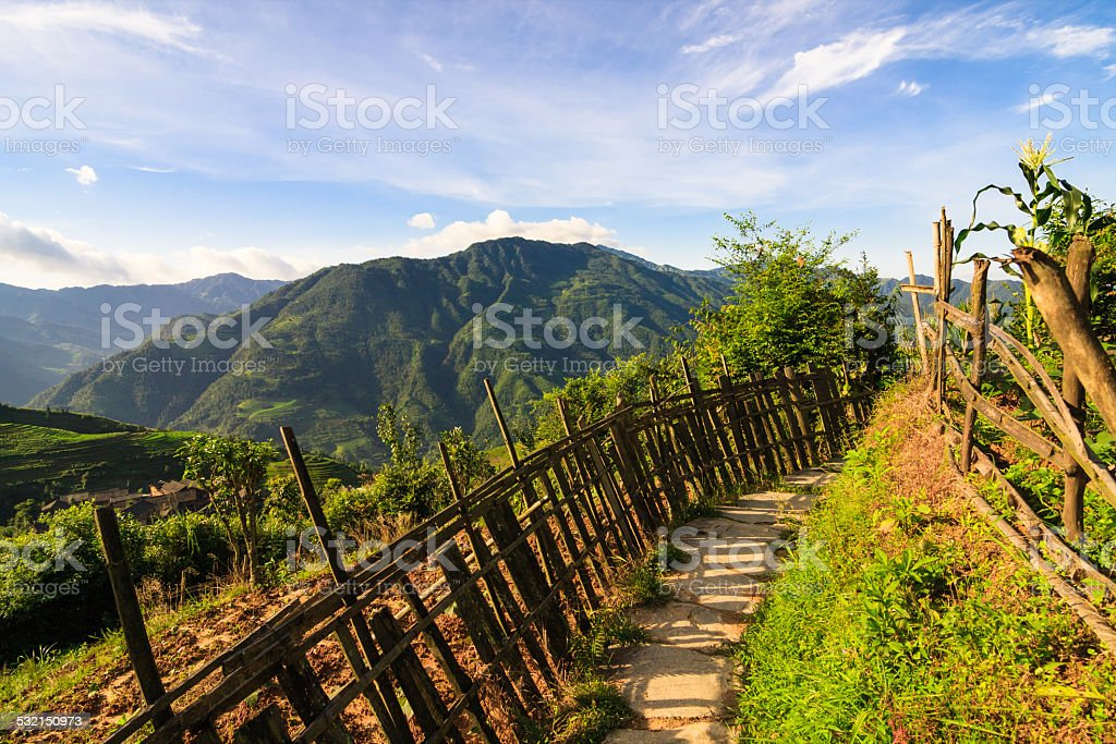 Chinese mountains and stone pathway stock photo