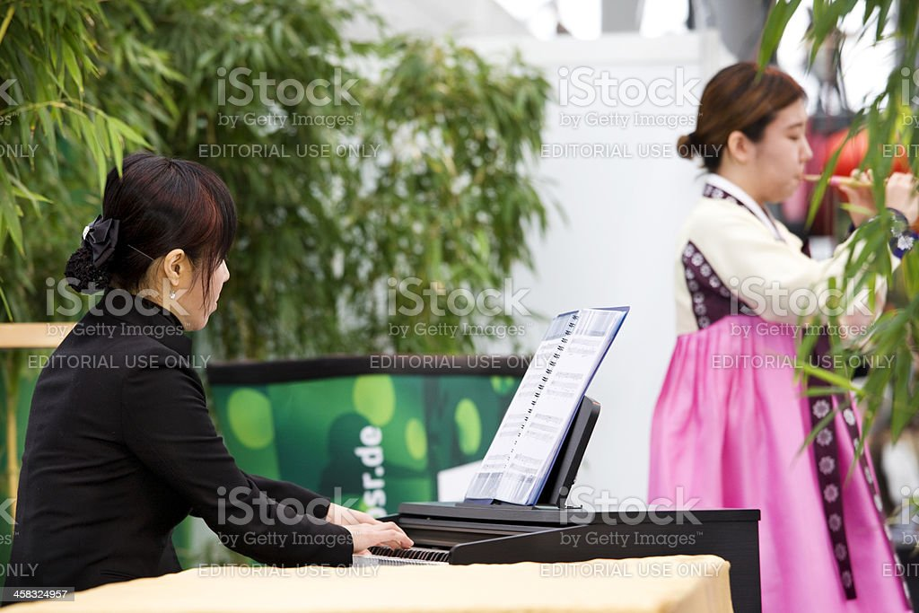 chinese musicians performing on stage royalty-free stock photo