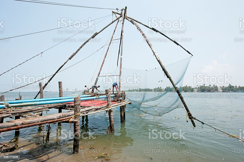 Chinese nets lifting - Fort Kochi, Cochin, India stock photo