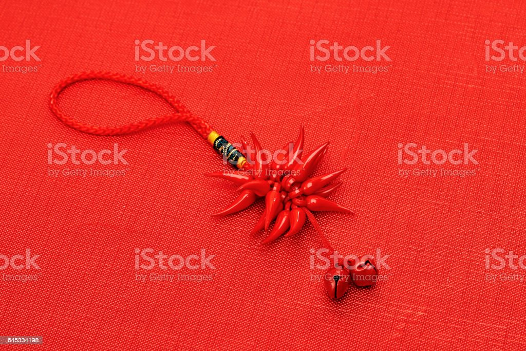 Chinese new year decoration on red background stock photo
