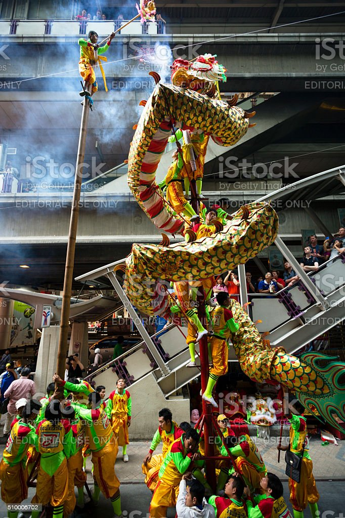 Chinese New Year Dragon Dance Bangkok stock photo